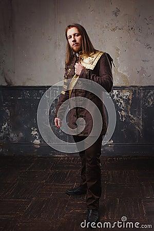 Free Handsome Male Steam Punk. Retro Man In Uniform, Portrait Over Grunge Background. Royalty Free Stock Photo - 86244625