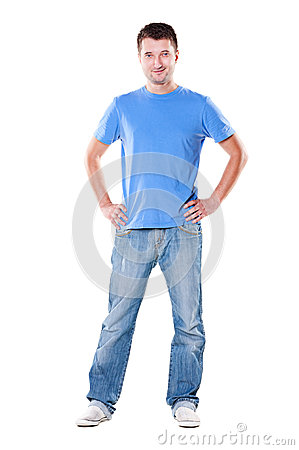 Handsome man in blue t-shirt