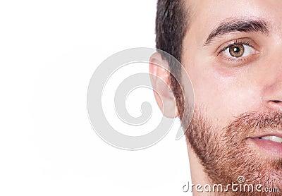 Handsome man half face close up