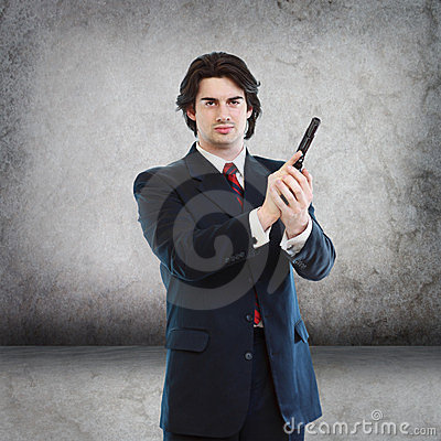 Handsome Man with a Hand Gun