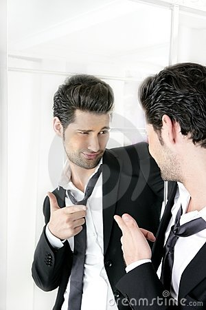 Free Handsome Man Humor Funny Gesture In A Mirror Royalty Free Stock Photo - 16379615