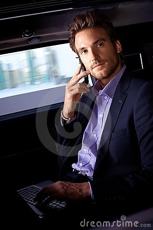 Free Handsome Man In Limousine Royalty Free Stock Photography - 22953747