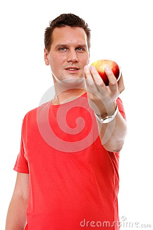 Free Handsome Man In Red Shirt With Apple Isolated Stock Image - 34023391