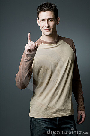 Free Handsome Man Makes A Pointing Gesture. Stock Photo - 22109710