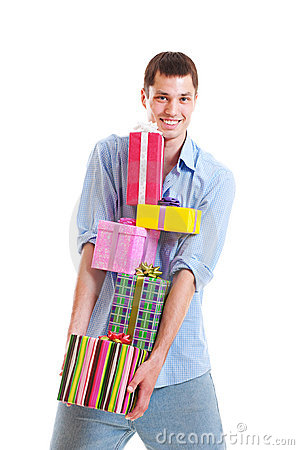 Handsome man with motley gift boxes
