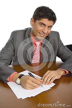 Handsome man at office desk