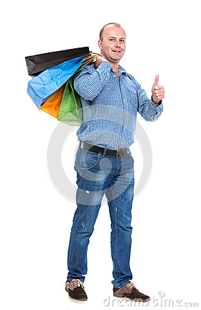 Handsome man with shopping bags