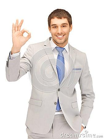 Handsome man showing ok sign