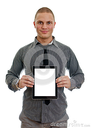 Handsome man showing touch screen tablet pc
