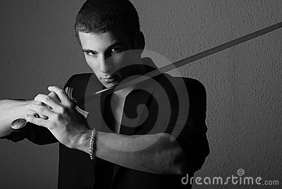Handsome man with sword