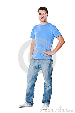 Handsome man in t-shirt and jeans