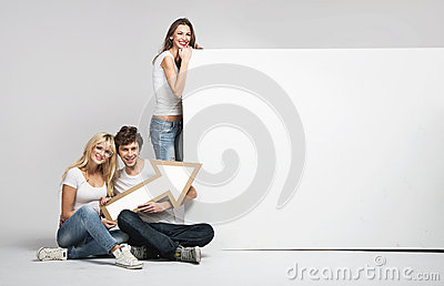 Handsome man with two girls and arrow