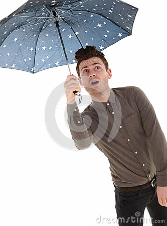 Handsome man with an umbrella