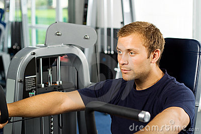 Handsome man working out
