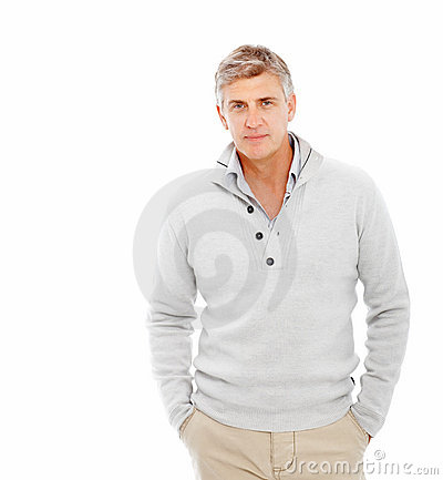 Handsome mature man with over white bac