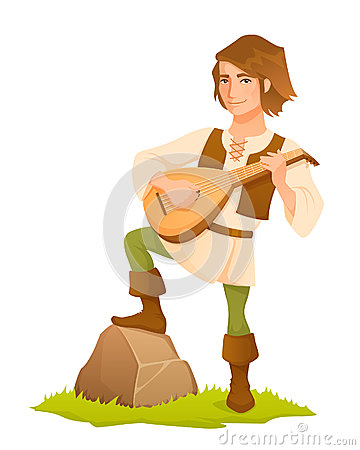 Handsome medieval bard with a lute
