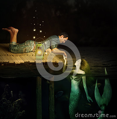Free Handsome Men And Beautiful Mermaid Stock Image - 54951941