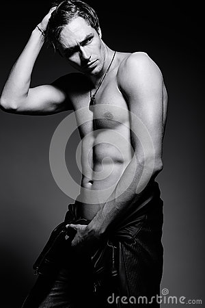 Free Handsome Muscled Fit Male Model Man  Showing His Abdominal Muscles Stock Photography - 60753902