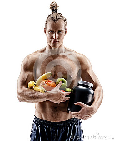 Free Handsome Muscular Man Holding Fresh Fruits And Large Bank Of Sports Nutrition Stock Image - 95091541