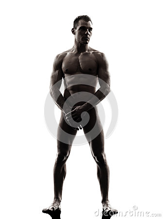 Handsome naked muscular man standing full length silhouette