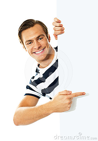 Handsome Person Pointing Towards Blank Signboard Stock Photo - Image ...
