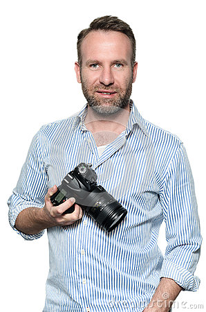 Free Handsome Photographer With A Friendly Smile Royalty Free Stock Image - 41184286