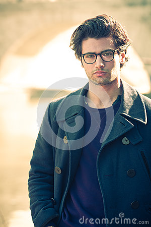 Free Handsome Portrait Man Outdoor. Model Hair And Clothing Style. Stock Photo - 93255020