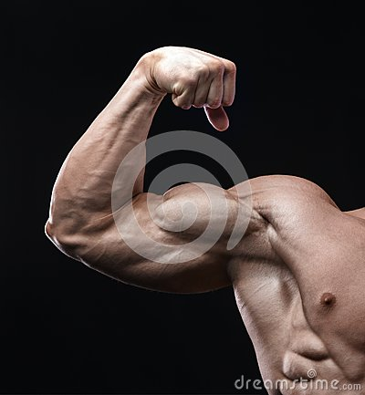 Free Handsome Power Athletic Man Bodybuilder Demonstrates His Biceps. Royalty Free Stock Photography - 117151967