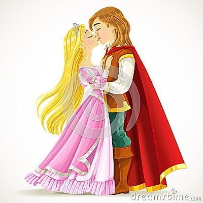 Handsome prince kisses the princess