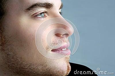 Handsome profile portrait young man face