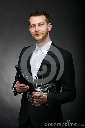 Free Handsome Romantic Man Holding Bottle And Glasses Of Wine Royalty Free Stock Image - 38234206