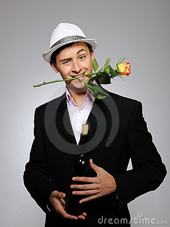 Free Handsome Romantic Man With Rose Flower And Vine Royalty Free Stock Photo - 17717145