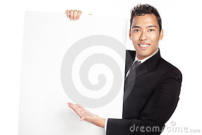 Handsome salesman, businessman with blank placard