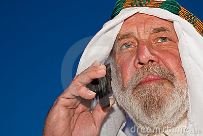 Handsome Senior Arab on the Phone