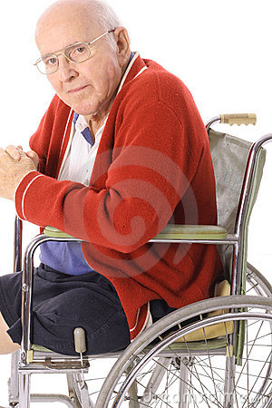 Handsome senior citizen in wheelchair vertical