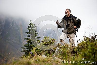 Handsome senior man nordic walking