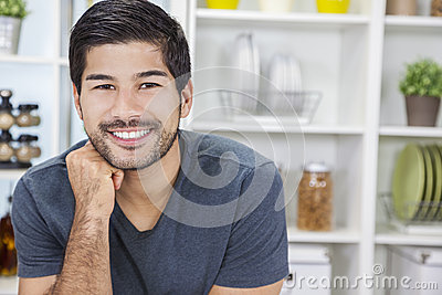 Handsome Smiling Asian Man With Beard