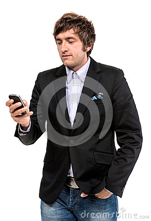 Handsome smiling man with cell phone