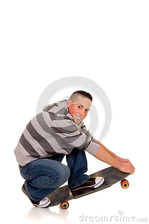 Handsome smiling skaterboy
