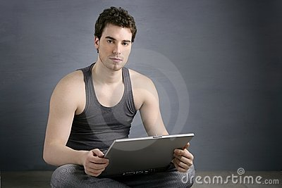 Handsome student young man sit working laptop