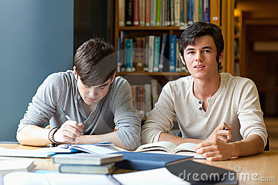 Handsome students reviewing their notes