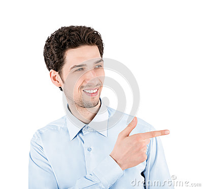 Free Handsome Success Man With Pointing Gesture Stock Photography - 30484502