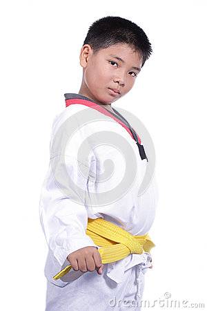 Handsome taekwondo boy trained fight activity