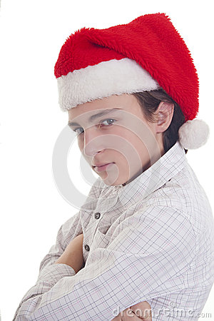 Handsome teenage boy with Christmas hat