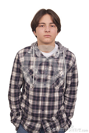 Handsome teenager with hand in pocket