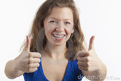 Handsome woman with both thumbs up