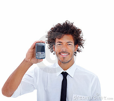 Handsome young business man holding a mobile phone