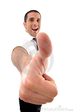 Handsome young businessman with thumbs up