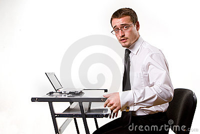 Handsome young businessman working