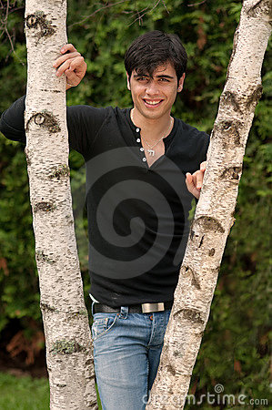 Handsome young Jewish man outdoors